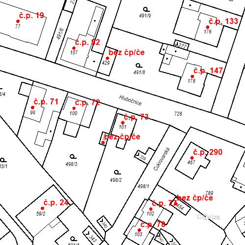 Katastrální mapa Stavební objekt Černožice 73, Černožice