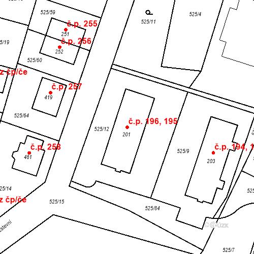 Katastrální mapa Stavební objekt Černožice 195, 196, Černožice