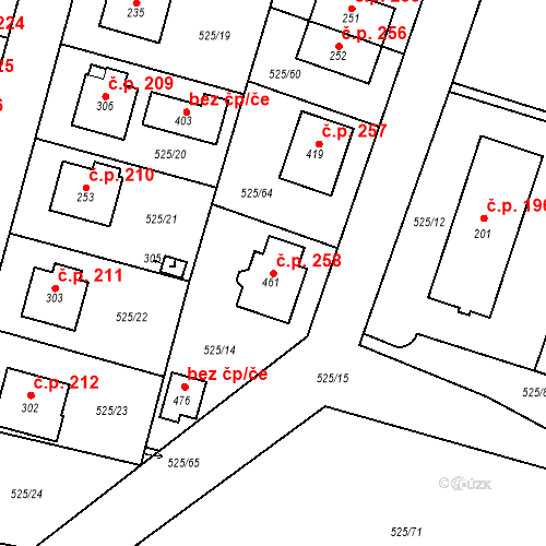 Katastrální mapa Stavební objekt Černožice 258, Černožice