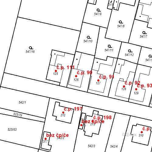 Katastrální mapa Stavební objekt Černožice 90, Černožice