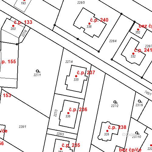 Katastrální mapa Stavební objekt Dalešice 237, Dalešice