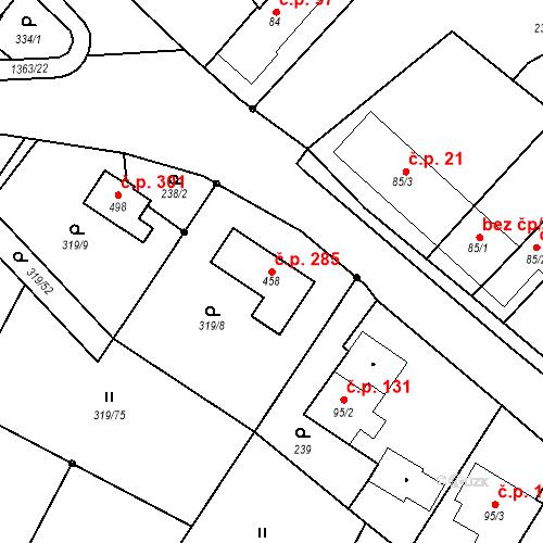 Katastrální mapa Stavební objekt Býšť 285, Býšť