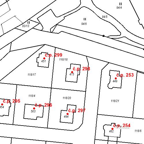Katastrální mapa Stavební objekt Holohlavy 298, Holohlavy