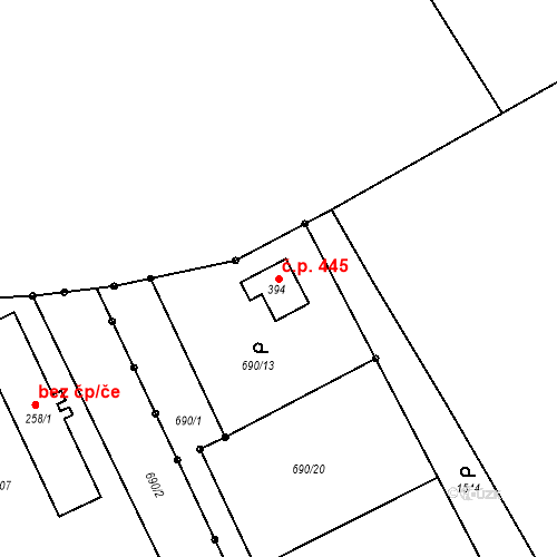Katastrální mapa Stavební objekt Pilníkov 445, Pilníkov