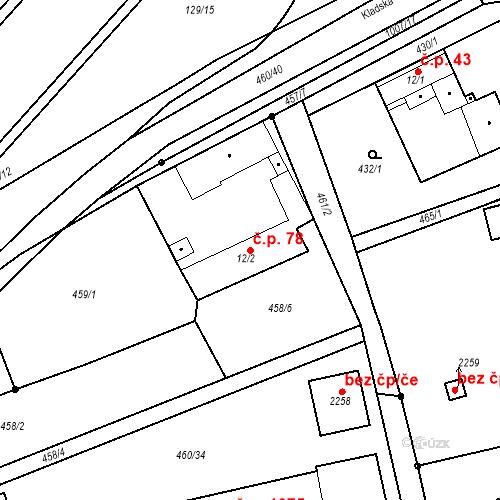 Katastrální mapa Stavební objekt Slezské Předměstí 78, Hradec Králové