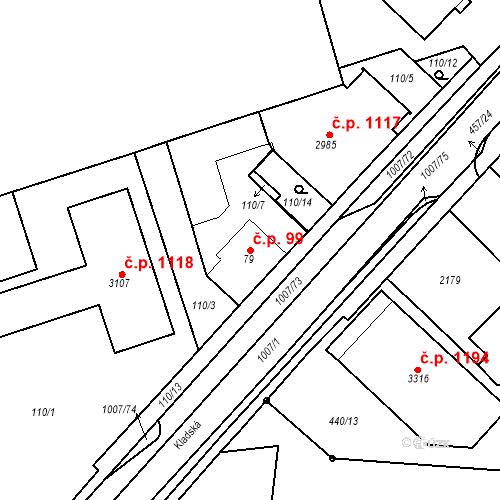 Katastrální mapa Stavební objekt Slezské Předměstí 99, Hradec Králové