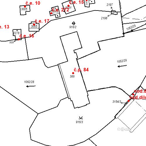 Katastrální mapa Stavební objekt Slezské Předměstí 84, Hradec Králové