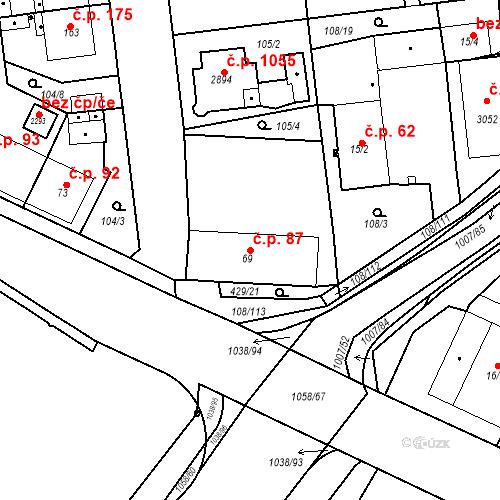 Katastrální mapa Stavební objekt Slezské Předměstí 87, Hradec Králové