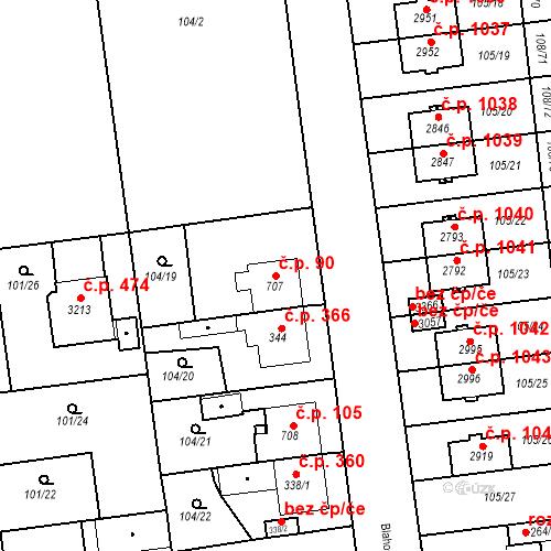 Katastrální mapa Stavební objekt Slezské Předměstí 90, Hradec Králové