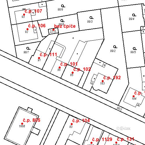 Katastrální mapa Stavební objekt Slezské Předměstí 102, Hradec Králové