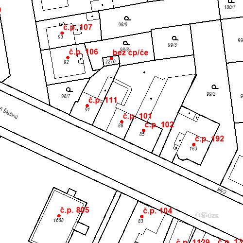 Katastrální mapa Stavební objekt Slezské Předměstí 101, Hradec Králové
