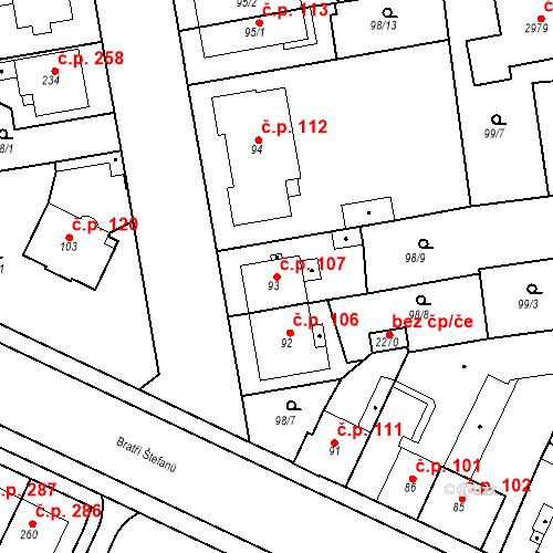 Katastrální mapa Stavební objekt Slezské Předměstí 107, Hradec Králové