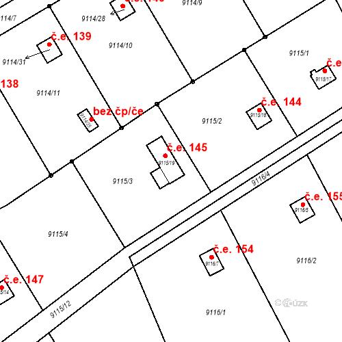 Katastrální mapa Stavební objekt Žďár nad Sázavou 1 145, Žďár nad Sázavou