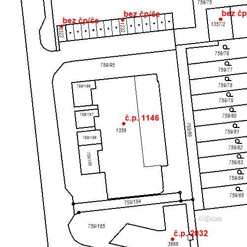 Katastrální mapa Stavební objekt Nový Hradec Králové 1146, Hradec Králové