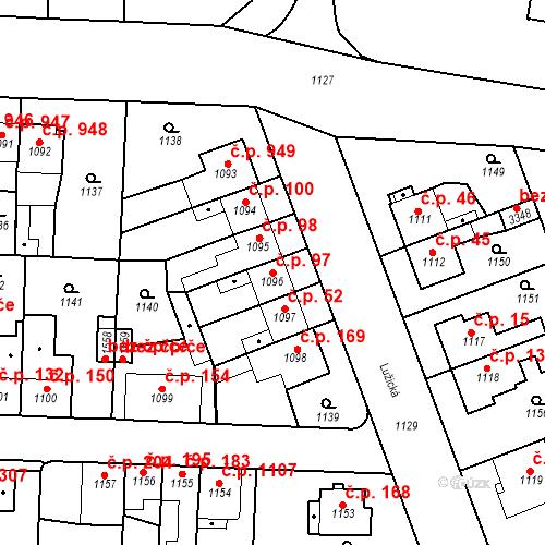 Katastrální mapa Stavební objekt Slezské Předměstí 97, Hradec Králové