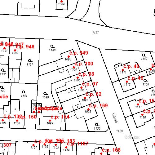 Katastrální mapa Stavební objekt Slezské Předměstí 98, Hradec Králové