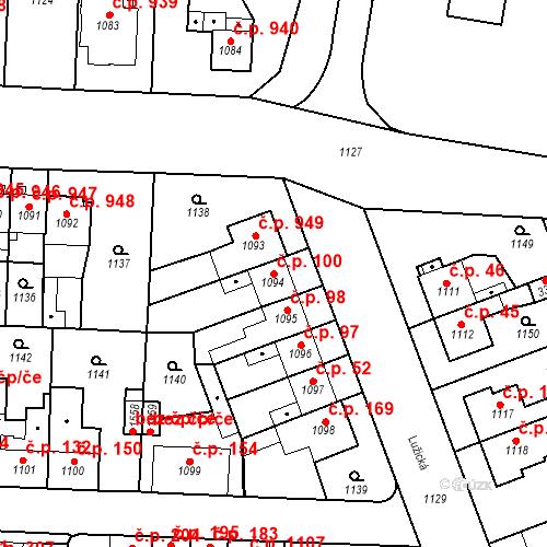 Katastrální mapa Stavební objekt Slezské Předměstí 100, Hradec Králové