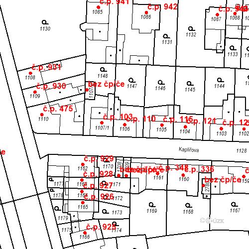 Katastrální mapa Stavební objekt Slezské Předměstí 110, Hradec Králové