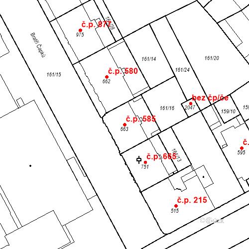 Katastrální mapa Stavební objekt Hradec Králové 585, Hradec Králové