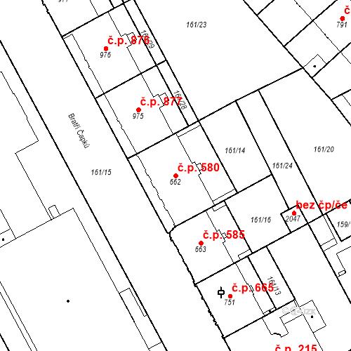 Katastrální mapa Stavební objekt Hradec Králové 580, Hradec Králové
