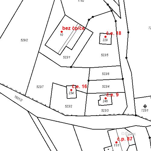 Katastrální mapa Stavební objekt Javorník 16, Rudník
