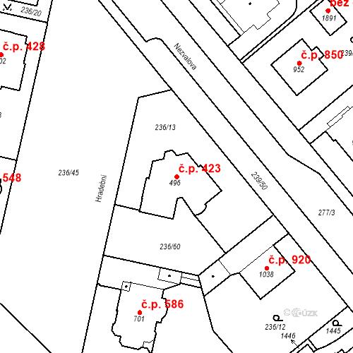 Katastrální mapa Stavební objekt Hradec Králové 423, Hradec Králové