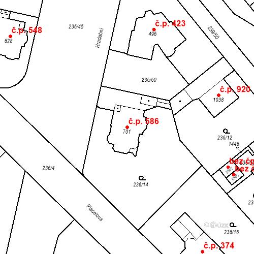 Katastrální mapa Stavební objekt Hradec Králové 586, Hradec Králové