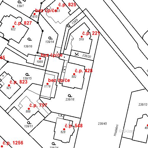 Katastrální mapa Stavební objekt Hradec Králové 428, Hradec Králové