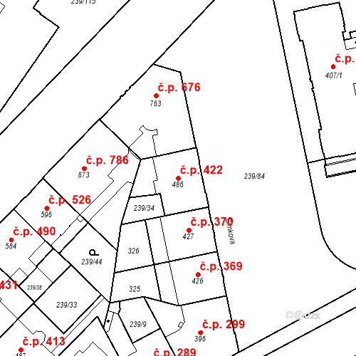 Katastrální mapa Stavební objekt Hradec Králové 422, Hradec Králové