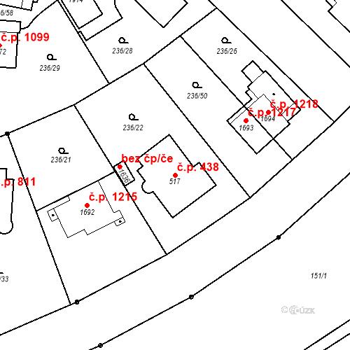 Katastrální mapa Stavební objekt Hradec Králové 438, Hradec Králové
