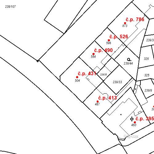 Katastrální mapa Stavební objekt Hradec Králové 431, Hradec Králové
