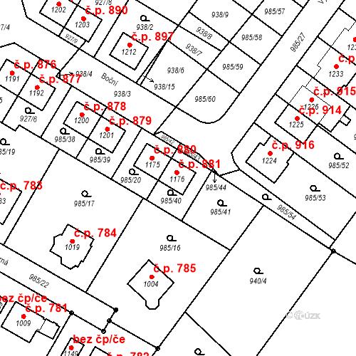 Katastrální mapa Stavební objekt Sezemice 881, Sezemice