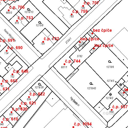 Katastrální mapa Stavební objekt Hlinsko 744, Hlinsko