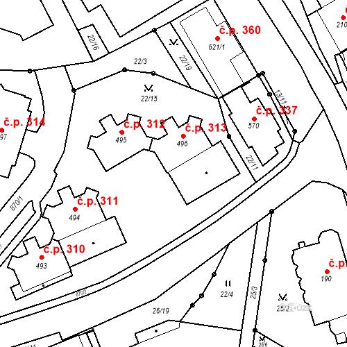 Katastrální mapa Stavební objekt Pec pod Sněžkou 313, Pec pod Sněžkou