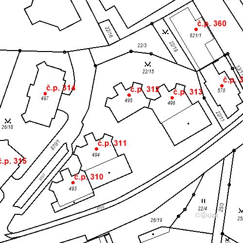 Katastrální mapa Stavební objekt Pec pod Sněžkou 312, Pec pod Sněžkou