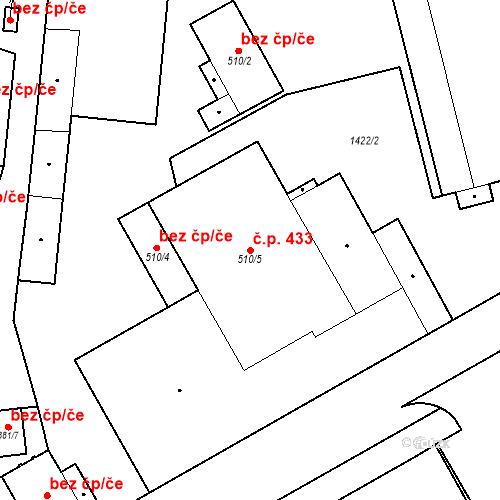 Katastrální mapa Stavební objekt Hradec Králové 433, Hradec Králové