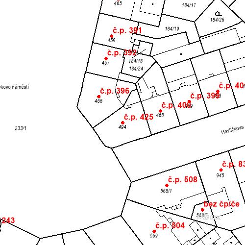 Katastrální mapa Stavební objekt Hradec Králové 425, Hradec Králové