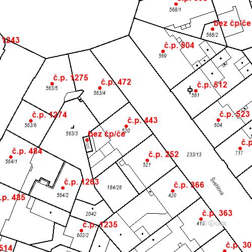 Katastrální mapa Stavební objekt Hradec Králové 443, Hradec Králové