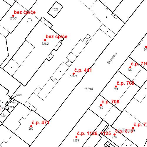Katastrální mapa Stavební objekt Hradec Králové 441, Hradec Králové