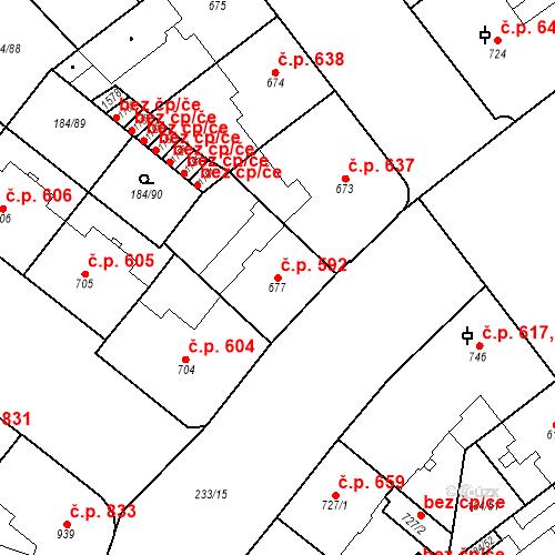 Katastrální mapa Stavební objekt Hradec Králové 592, Hradec Králové