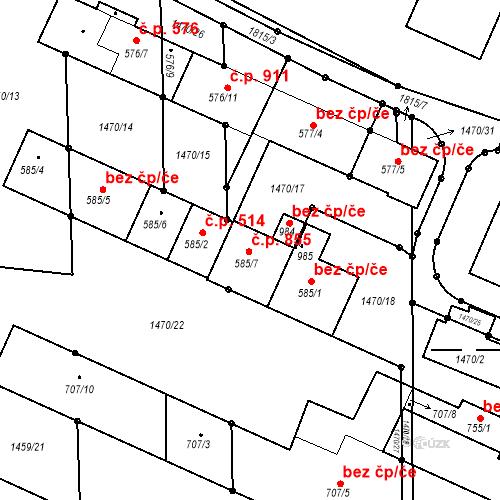 Katastrální mapa Stavební objekt Sezemice 855, Sezemice
