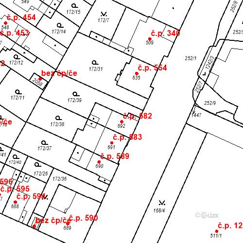 Katastrální mapa Stavební objekt Hradec Králové 582, Hradec Králové