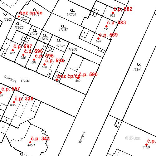 Katastrální mapa Stavební objekt Hradec Králové 590, Hradec Králové