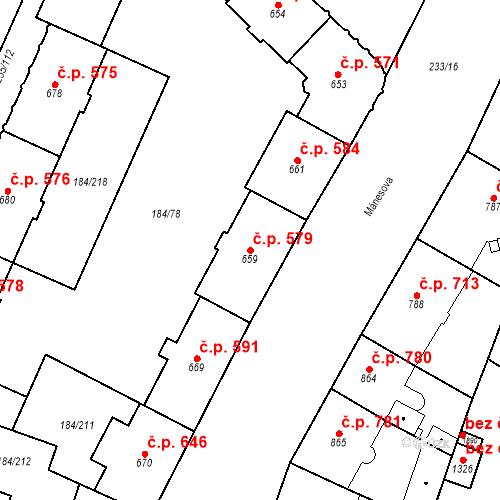 Katastrální mapa Stavební objekt Hradec Králové 579, Hradec Králové