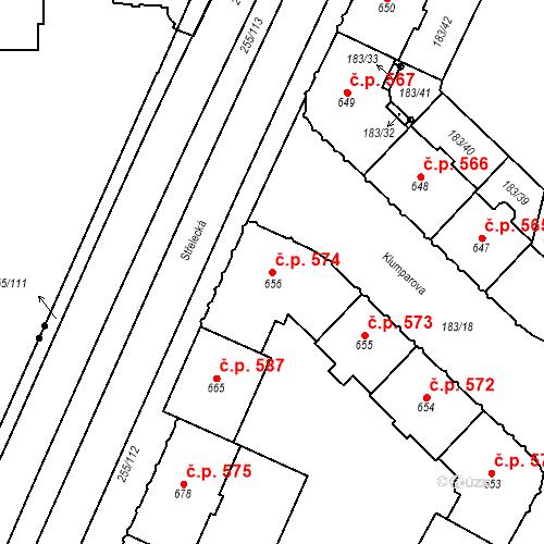 Katastrální mapa Stavební objekt Hradec Králové 574, Hradec Králové