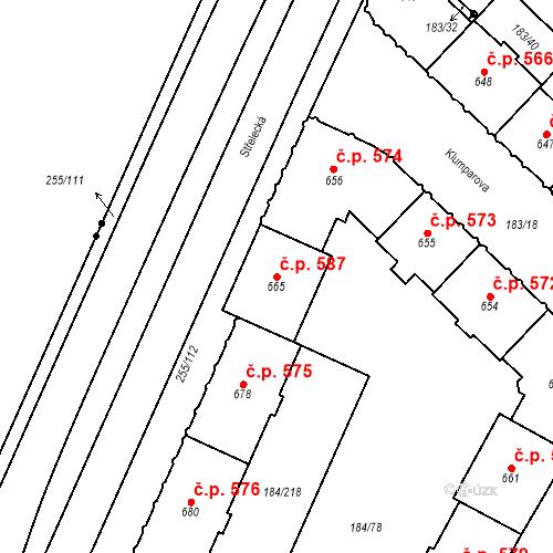 Katastrální mapa Stavební objekt Hradec Králové 587, Hradec Králové