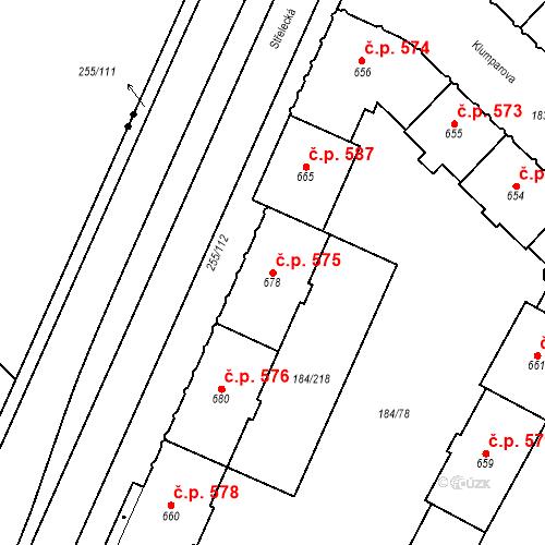 Katastrální mapa Stavební objekt Hradec Králové 575, Hradec Králové