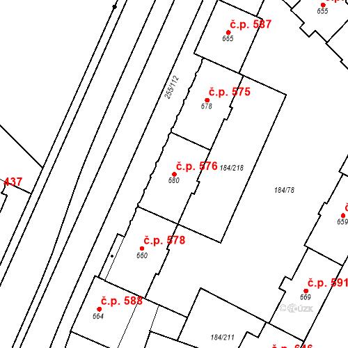 Katastrální mapa Stavební objekt Hradec Králové 576, Hradec Králové