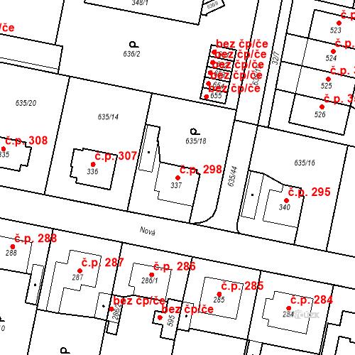 Katastrální mapa Stavební objekt Předměřice nad Labem 298, Předměřice nad Labem