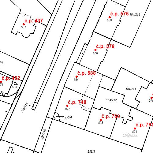 Katastrální mapa Stavební objekt Hradec Králové 588, Hradec Králové